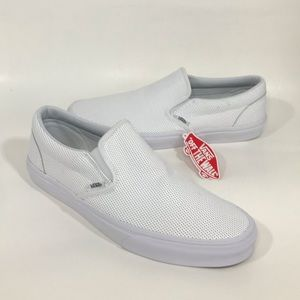 NWT Vans All White Perforated Leather SlipOn Shoes